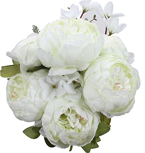 XIUER Vintage Artificial Flowers Fake Peony Flowers Bouquet Glorious Wedding Home Bridal Decoration (Spring White) (Bouquet Spring 2)