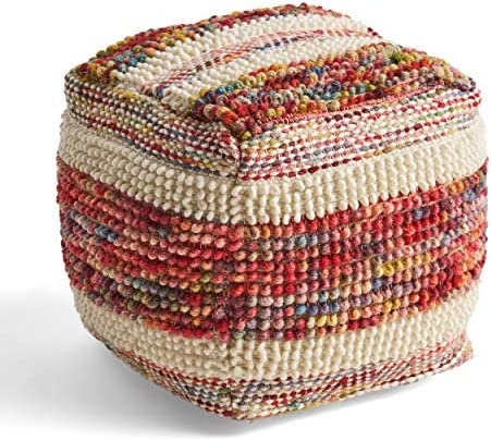 Great Deal Furniture Ivy Boho Wool and Cotton Ottoman Pouf