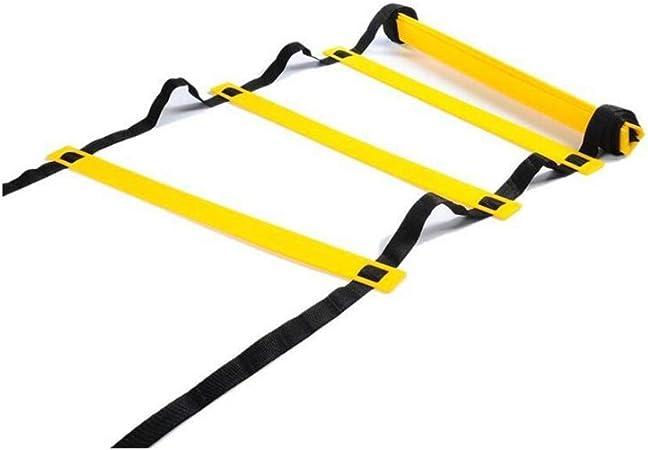 MJ-Soft Ladder Escalera de Agilidad de 3 a 10 m para Entrenamiento de fútbol con Funda de Transporte Negra (Color: Negro, tamaño: 5 Metros, 10 Tablas), Negro, 6 Meters 12 Boards: Amazon.es: Hogar