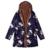HHei_K Womens Winter Warm Retro Outwear Floral Print Hooded Long Sleeve Zip Up Pockets Jacket Vintage Oversize Coats