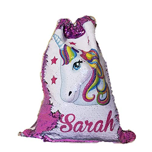 (BlueVStudio | Personalized Unicorn with Stars Reversible Sequin Drawstring Backpack | Sequin Drawstring Backpack | Unicorn Backpack)