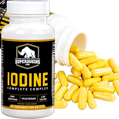 Iodine Complete Complex for Thyroid Support by SuperDosing - 90 Capsules. With Selenium, B Vitamins, Magnesium and Vitamin C. The Supplement Solution Men and Women Need for Glandular and Adrenal Care