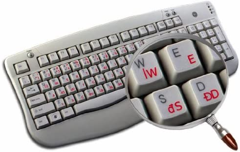POLISH 214 KEYBOARD STICKERS WITH RED LETTERING TRANSPARENT BACKGROUND