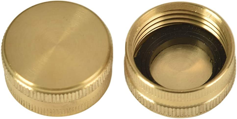 "REGNHLIF 2 Pack 3/4"" Brass Garden Hose End Caps with Washers"