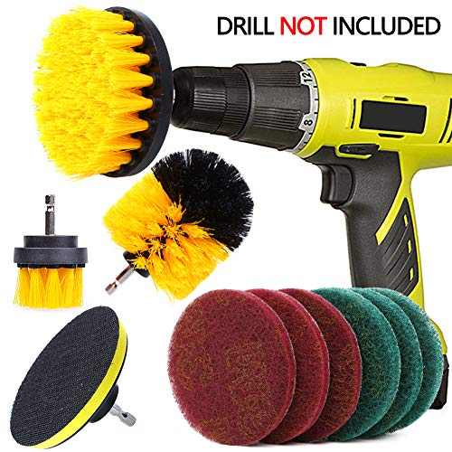 - QUIENKITCH 10 Piece Drill Brush Attachments Set, Power Drill Scrub Brush Attachments, Drill Scrub Pads For Grout, Tiles, Sinks, Bathtub, Bathroom, Shower & Kitchen Surface