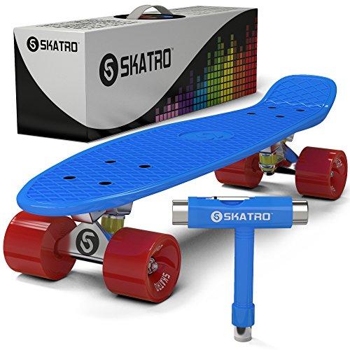 Skatro - Mini Cruiser Skateboard. 22x6inch Retro Style Plastic board Comes Complete. Model: Blue Ocean ()