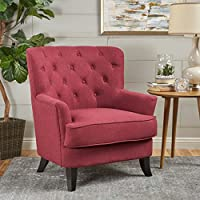 Christopher Knight Home 301414 Anikki Arm Chair, Deep Red/Dark Brown