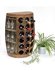 DanDiBo Wijnrek hout vintage wijnvat flessenrek 1486 bijzettafel kast vat 72 cm hoog wijnbar