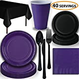 Disposable Party Supplies, Serves 40 - Purple and Black - Large and Small Paper Plates, 12 oz Plastic Cups, Heavyweight Cutlery, Napkins, and Tablecloths. Full Two-Tone Tableware Set