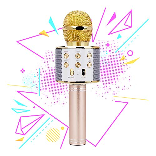 Wireless Bluetooth Microphone for Girls, Kids Girl Gift Age 7-12 Girls Toy for 6-11 Year Old Teens Girl Birthday Gift for 5-9 Year Old Girls Gift for 8-10 Years Old Girl Gold Mic
