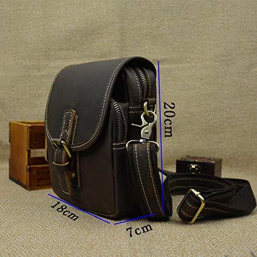 Bolsa Cuero para multifunción Celular Mensajero Hombres Negro Bolsillo Marrón Exteriores Cintura de Vintage OMMILA Mochila de de Paquete del de Hombro Bolsa Bolso para teléfono qwF6xXt