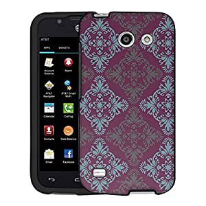 AT&T Fusion 3 Case, Snap On Cover by Trek Victorian Vintage Blue and Grey on Plum Case