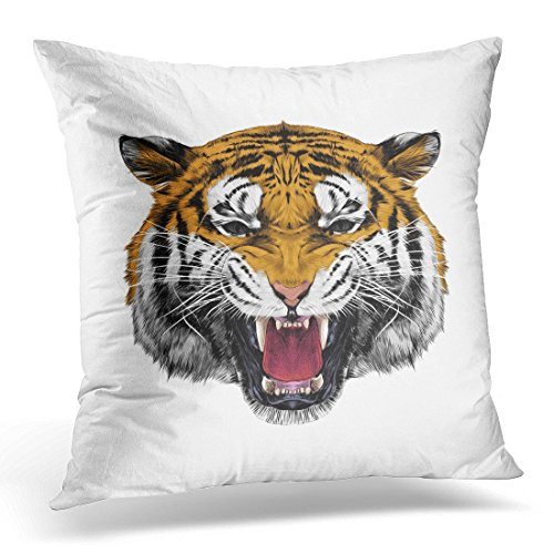 SPXUBZ Black Angry Tiger Head Growling Sketch Graphics Color White Animal Artistic Decorative Home Decor Square Indoor/Outdoor Pillowcase Size: 18x18 Inch(Two Sides) -