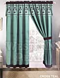 Western Peak 3 Pc Luxury Western Texas Cross Praying Cowboy Horse Cabin Lodge Barbed Wire Luxury Quilt Bedspread Oversize Comforter (Curtain, Turquoise)