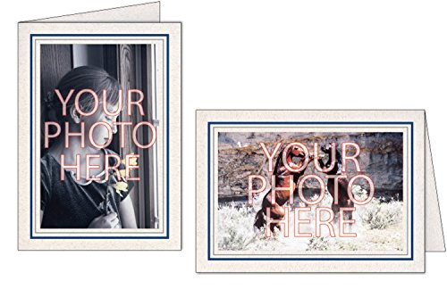 Photographer's Edge, Photo Insert Card, Natural with Double Border, Set of 10 for 4x6 Photos - Midnight Blue & Granite