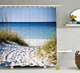 mexico pictures - Ambesonne Seaside Decor Collection, Path to the Beach Clear Sky Bushes Grasses Windy Sunny Day Peaceful Gulf of Mexico Picture, Polyester Fabric Bathroom Shower Curtain Set with Hooks, Navy Blue