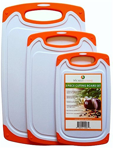 3 Piece Plastic Cutting Board Set for Kitchen with Deep Drip