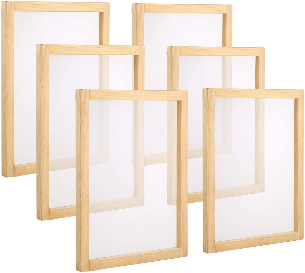 Pllieay 6 Pieces Wood Silk Screen Printing Frames 10 x 14inch with 110 White Mesh for Screen Printing