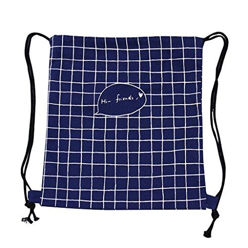 yeah67886Creative Doddle geométrico impreso cordón bolsa lona mochila bolsa (azul oscuro)