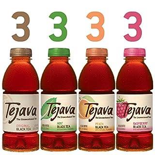 Tejava Unsweetened Black Iced Tea 4 Flavor Variety Pack, 16.9oz Pet Bottles, Award Winning, Non-Gmo-Verified, Rainforest Alliance-Certified (12 Pack)
