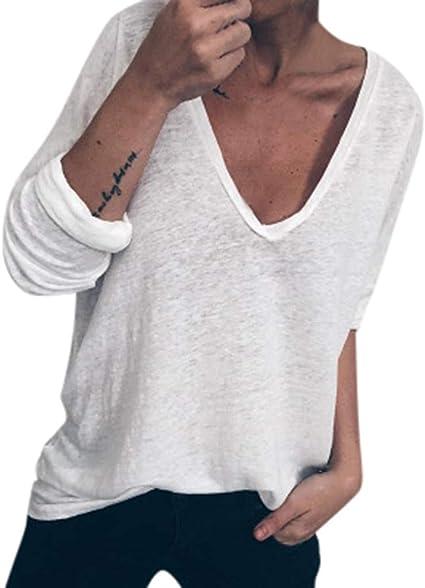 Sylar Tops Mujer Camiseta Manga Larga Casual Camisetas De Mujer con Cuello En V Camisa Mujer Color Sólido Suelto Sudaderas Sin Capucha Camisa Mujer Talla Grande: Amazon.es: Ropa y accesorios