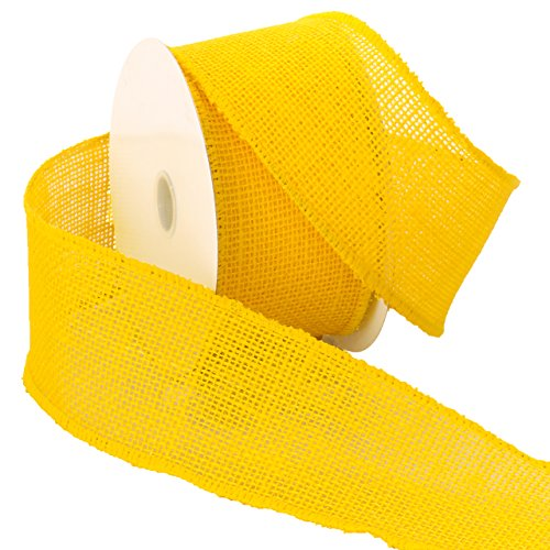 Wire Ribbon Spool (Morex Ribbon Burlap Wired Ribbon, 2-1/2-Inch by 10-Yard Spool, Bright Yellow)