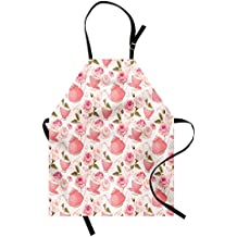 Ambesonne Floral Apron, Vintage Style Tea Cups with Roses Romantic Shabby Chic Design Print, Unisex Kitchen Bib Apron with Adjustable Neck for Cooking Baking Gardening, Pale Pink Coral Fern Green