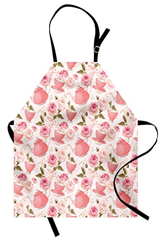 Ambesonne Floral Apron, Vintage Style Tea Cups with Roses Romantic Shabby Chic Design Print, Unisex Kitchen Bib Apron with Adjustable Neck for Cooking Baking Gardening, Pale Pink Coral Fern Green (Rose Cup Pink)