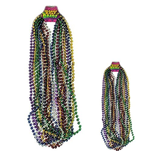 Assorted Color Mardi Gras Throw Beads : package of (Mardi Gras Products)