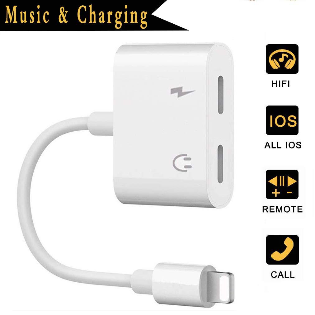 Adaptateur Casque pour c/âble Lighttening pour iPhone 8 Adaptateur vers Adaptateur 3,5 mm pour iPhone XS//XS Max 8//8 Plus 7//7 Plus Accessoires R/épartiteur Audio Jack C/âble Aux Adaptateur Support iOS12
