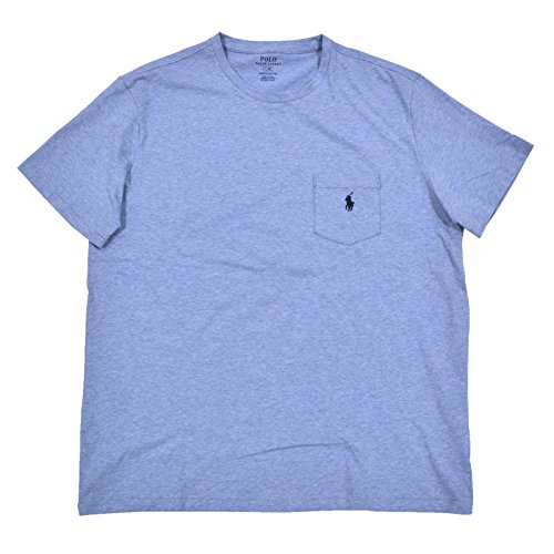 (Polo Ralph Lauren Mens Stretch Cotton Pocket T-Shirt (Large, Blue))