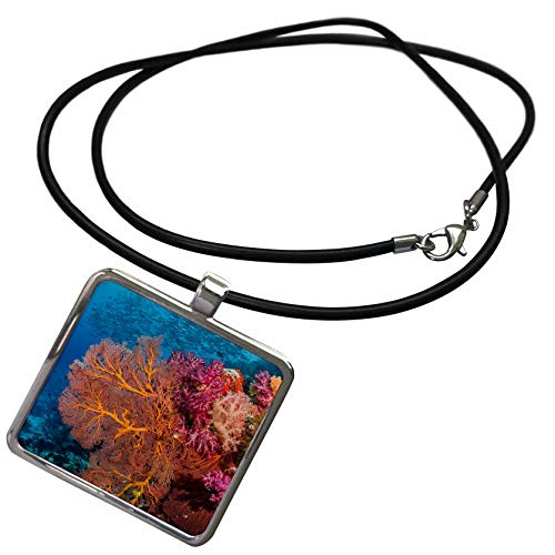 3dRose Danita Delimont - Underwater - Fiji. Fish and Coral Reef. - Necklace with Rectangle Pendant (ncl_314013_1) ()