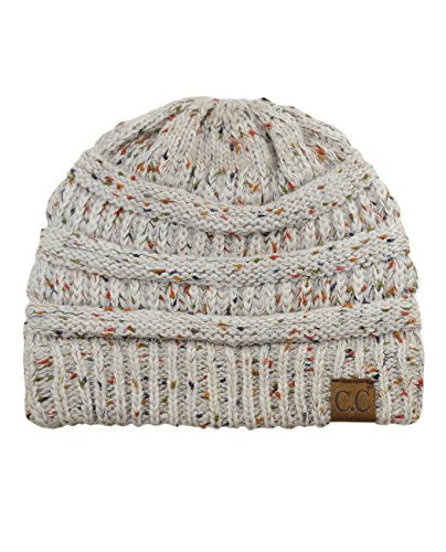 b3ea0cd18207c Galleon - C.C Unisex Colorful Confetti Soft Stretch Cable Knit Beanie Skull  Cap - Ombre Oatmeal One Size