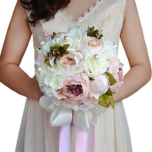 Snowskite Peony Bridal Bridesmaid Bouquets Artificial Silk Flowers Bouquet Home Wedding Decoration(Pink)