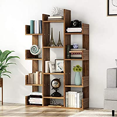 Tribesigns 12-Shelf Bookcase, Vintage Tree Bookshelf Book Rack Display Shelf Storage Organizer for CDs, Records, Books, Home Office Deco (Retro Brown) - 【MULTIPLE USAGE & FIT FOR VARIOUS SPACE】 This tree shaped shelf can be used as a book case, storage shelf, room divider, flower rack in living room, bedroom, kids room, can be also used in the office for storage and display. Contemporary design allows it to easily complement your homes and office decor. 【12 TIERS SHELVES & ABUNDANT STORAGE SPACE】This display rack allows a large storage area for your multiple items, books, magazines, toys, photo frames, plants, and artworks. 【SECURE SIDE & BACK BOARD DESIGN】Side shelves prevent items from falling down while strengthened back boards and base board ensure a better load-bearing and stability, won't tilt or swing easily. Weights 55lbs, each shelves can support up to 25 lbs. - living-room-furniture, living-room, bookcases-bookshelves - 51kidpQhhDL. SS400  -