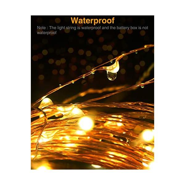 Litogo Luci LED Batteria, Catena Luminosa 5m 50 LED Fairy Light Filo Rame Ghirlanda Luminosa Lucine LED Decorative Waterproof per Camere da Letto Giardino Casa Feste Natale Matrimonio (Bianco Caldo) 6 spesavip