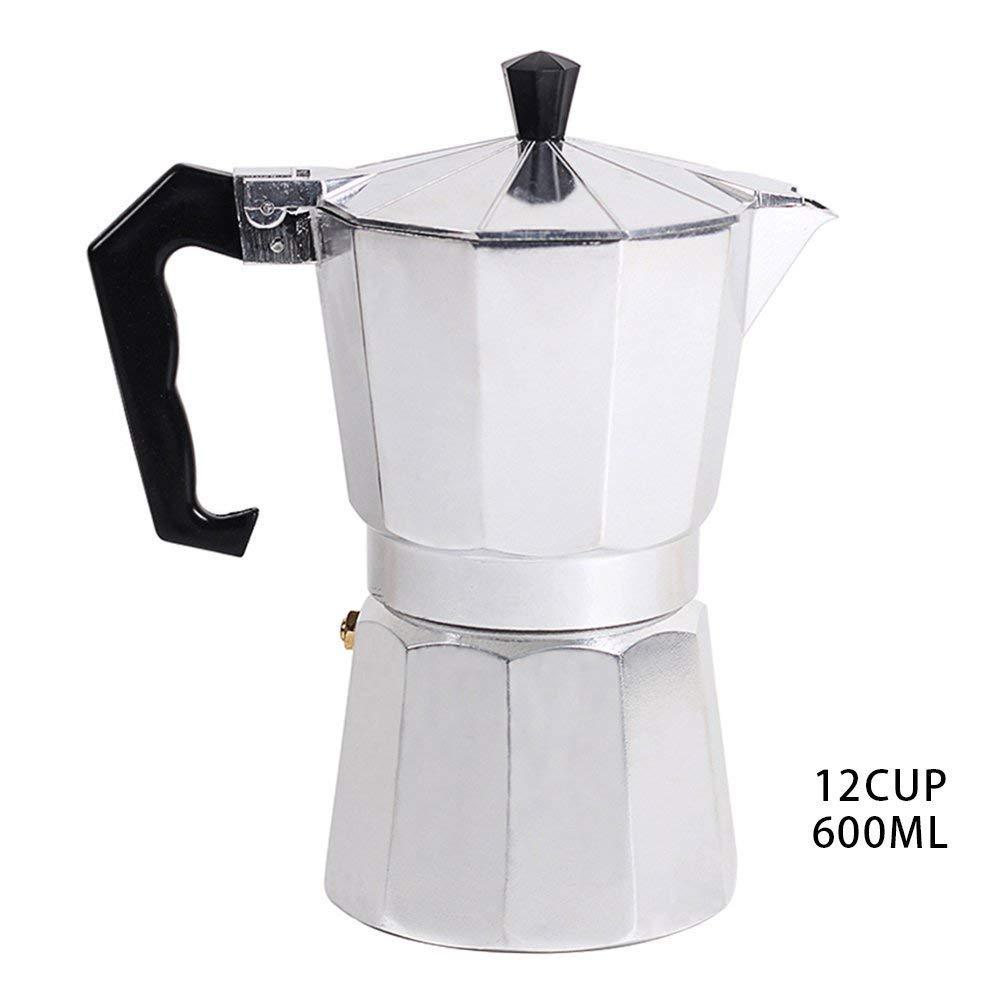 Italian Coffee Maker, XGZ Italian Espresso Coffee Maker Top Moka Macchinetta Latte Coffee Pot Stove Stovetop Espresso Maker - 600ml(12 cup)