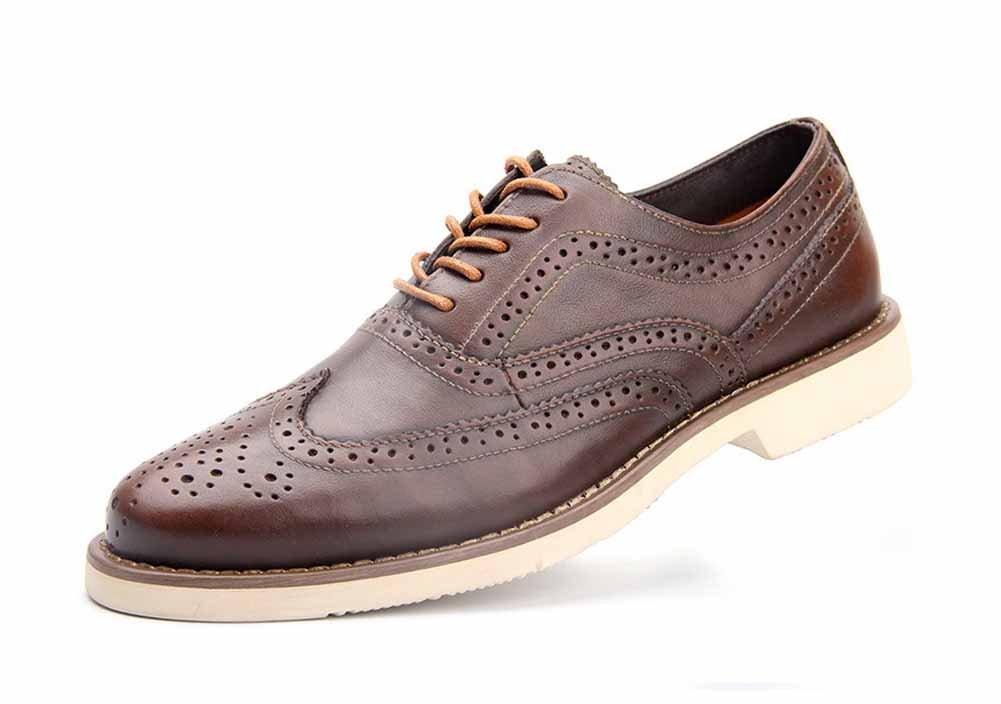GLSHI Herren Brogue Schuhe Britische Vintage Leder Casual Wanderschuhe Geschnitzte Lace-up Niedrig Heel Hochzeitsschuhe