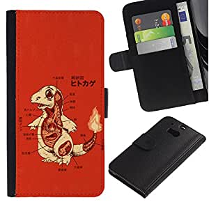 LECELL--Cuero de la tarjeta la carpeta del tirón Smartphone Slots Protección Holder For HTC One M8 -- Charizo P0kemon --