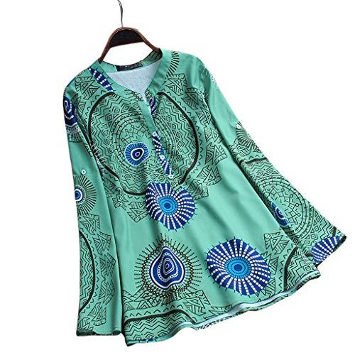 MOZATE Plue Size Womens Vintage Print V-Neck Button Long Sleeve Blouse Top Shirt Green