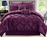 Dark Purple Comforter Sets Queen KingLinen 8 Piece Rochelle Pinched Pleat Plum Comforter Set Queen