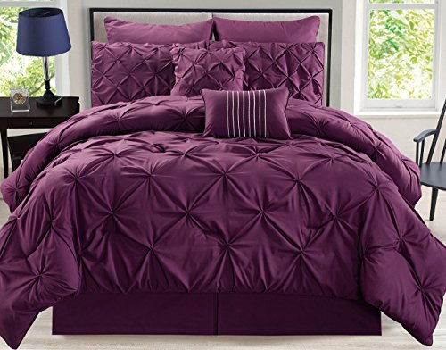 8 Piece Rochelle Pinched Pleat Plum Comforter Set - King Plum Comforter