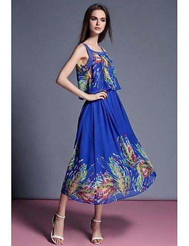 PU&PU Robe Aux femmes Mousseline de Soie Street Chic,Imprimé A Bretelles Midi Polyester , blue-xl , blue-xl