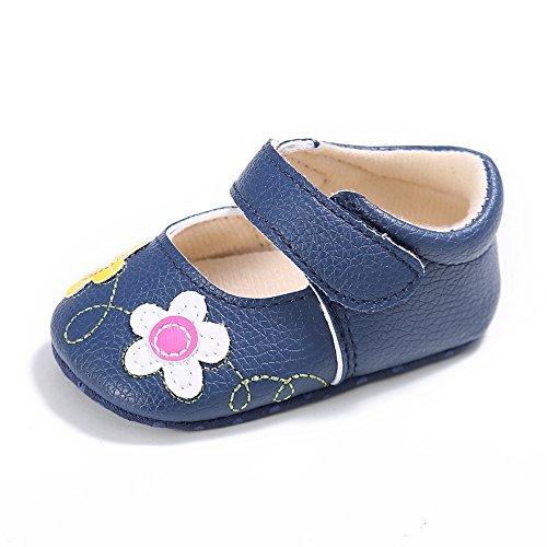 ESTAMICO Baby Mädchen Weiche Sohle Blumen Lauflernschuhe Marine