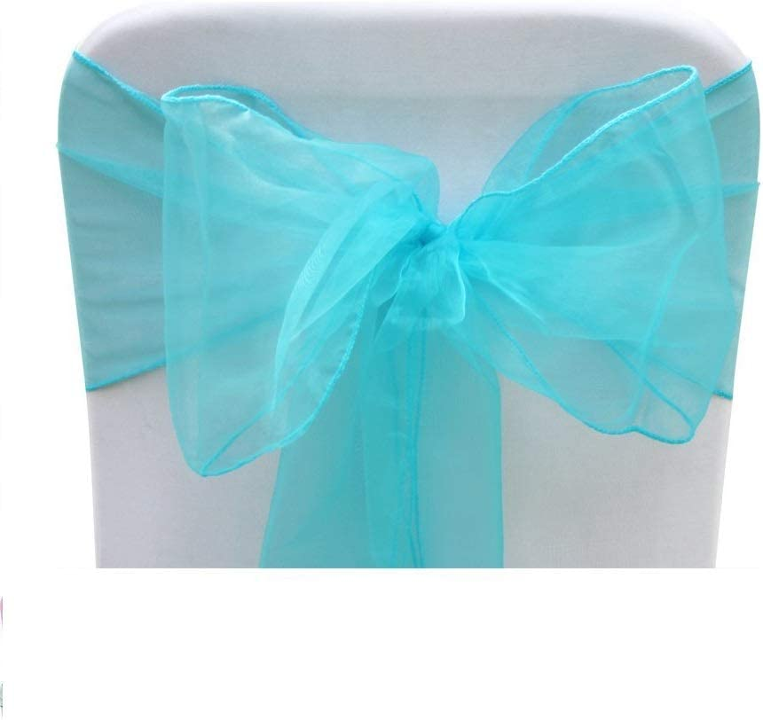 23 x 108 58 X 274CM DIY Fabric for Event Shows Wedding Birthday Reception Engagement Party Decoration - Single Weddecor Aqua Blue Organza Chair Cover Sashes Wider Fuller Bow