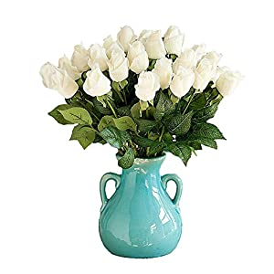 Lingstar Wedding Flower Head Real Touch Rose Bud Flowers for Home Decor Wedding Bouquet-White 10PCS 27
