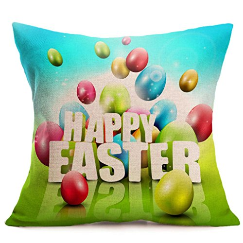 Usstore 1PC Decorative Pillowcases zip Square Easter Cartoon Throw Pillow Cover Cafe Home Decoration for Living Sofas Beds Room (E) (Measurements Loveseat Standard)