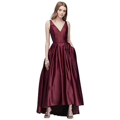 5bf605a3a8 David s Bridal V-Neck Satin Tank Prom Dress with Pleats Style A19763D