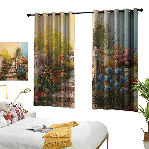 (TRTK Bedroom Curtains Flower,Opium Poppy Field and Beautiful Yard Sunset Over The Ocean Under The Clouds Picture,Multicolor Blackout Window Curtain W55 x)