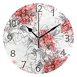 senya Wall Clock Silent 9.5 Inch Battery Operated Non Ticking Lining Up Round Decorative Acrylic Quiet Clocks for Bedroom Office School Home by domook (Asian Flowers)